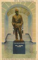 LINEN Postcard OK F112 Will Rogers Memorial Statue Building Claremore Curteich
