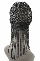 Women Black Beads Head Elegant Piece Fashion Jewelry Party Elastic Long Hair Hat