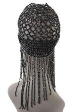 Women Black Beads Head Elegant Piece Fashion Jewelry Party Elastic Long Hair Hat