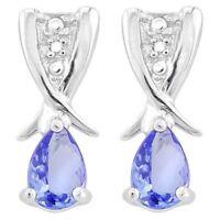 Ohrringe/Ohrstecker Lucinda, 925er Silber, 0,64 Kt. echter Tansanit/Diamant