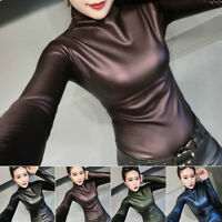 Womens PU Leather Wet Look Turtle Neck Long Sleeve Stretchy Skinny Clubwear Tops