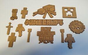 Wooden MDF Minecraft Shapes Craft x13 mixed sizes Embellishments