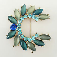 Nw Olive Grn Flower Crystal Crescent Moon Shape Pendant Charm Brooch Pin BR1117A