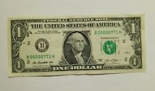 Rare $1 dollar bill unusual Serial Number B 00000 771 H