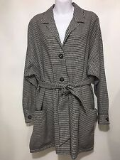 Louis Feraud Womens 8 Black White Slouchy Unlined Wool Blazer Jacket Vintage 80s