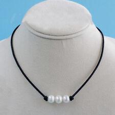 Fashion Lady Charm Jewelry Black Leather Chain Pearl Pendant Choker Bib Necklace