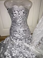 """1 MTR WHITE SCALLOPED BRIDAL EMBROIDED LACE NET FABRIC...52"""" WIDE"""