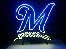 "New Milwaukee Brewers Neon Light Sign 17""x14"" Beer Gift Bar Real Glass Artwork"