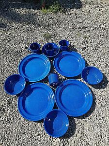 Camping Besteck 12 tg Outdoorset Emalliertes Western Geschirr Teller Tassen blau