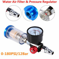 Air Pressure Regulator Spray Gun 0-180Psi Gauge & In-Line WaterTrap Filter Tool