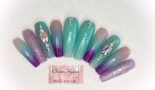 Aqua And Purple Mermaid Handmade Press On Nails
