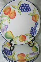 """4 Hand Painted Artists Touch Orchard Jubilee Dinner Plates Vintage 10 1/4"""" New"""