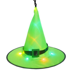 LED Glowing Witch Hat Halloween Tree Hanging Decor Light Up Witches Caps UK