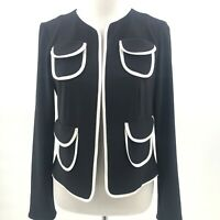 Joseph Ribkoff Size 10 Black and White Open Blazer Jacket