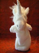 """THE PUPPET CO WHITE UNICORN HAND PUPPET 18"""" APPROX VGC (B137)"""