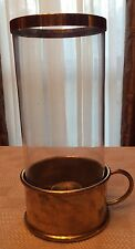 Vintage Blown Glass And Brass Footed Hurricane Finger Loop *Rare* Church Piece?