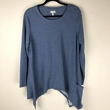 LOGO Lori Goldstein XL Tunic Top Blue Handkerchief Hem Long Sleeve Pockets Shirt
