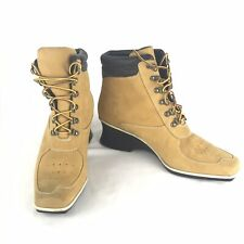 Timberland Premium Ankle Boots Wedge Wheat Nubuck Leather Lace Up Women's 8.5 M