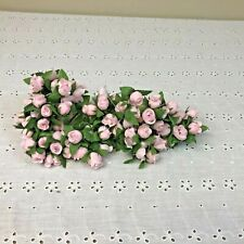 Vintage Pink Roses Millinery Flower Stems Cluster Bouquet Spray Lot Korea