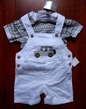 First Impressions Boy 12M Outfit White Overalls Shorts with T-Shirt Set Jeep Car
