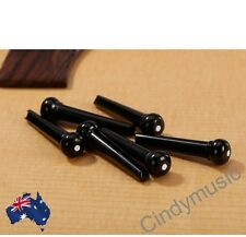 PARTS 6 X Bridge Pins Black with White Dot Acoustic Guitar Set NEW