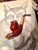 Vintage hand crafted brair tobacco pipe. BRUYERE GARANTIE VERY BEAUTIFUL