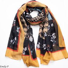 Women Ladies Houndstooth Oversized Mustard Scarf Shawl Wrap Hijab Sarong