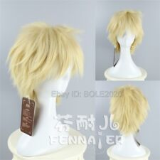 New Fashion Light Blonde Short Straight Cosplay Wig Synthetic Full Hair Wigs