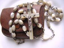 Chapelet ancien perles, croix et médaille centrale (coeur) en nacre, étui cuir