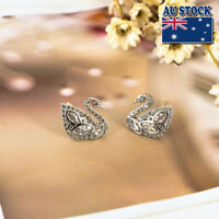 Elegant Women 925 Sterling Silver Crystal Lovely Swan Stud Earrings Stunning