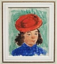 Original Jack Levine (NY, MA  1915-2010) Watercolor Painting Head of a Girl