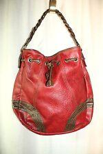 "Vintage Levi's Dark Red & Brown Drawstring Hobo Bag Purse 14"" x 13"" x 3.5"""