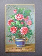 ANTIQUE CHRISTMAS Card Embossed Bright Pink Roses in Blue Pot Victorian Chromo