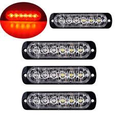 4Pc Red/Red 6LED Car Truck Emergency Warning Hazard Flash Strobe Light