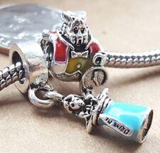 Disney Alice in Wonderland Drink Me Potion White Rabbit European Bead Charms Set