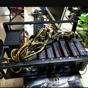 Open Air Miner Mining Frame Rig Case Up to 6 GPU for Crypto Coin Currency Steel~