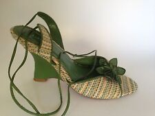 Fioni Green Ankle Wrap Tie Wedge Heel Summer Sandals 7.5