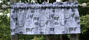 French Farm Gray Cow Rooster Rustic Farmhouse Kitchen Curtain Valance Panel