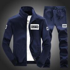 Men Sports Tracksuit Set Hoodie Top +Bottoms Pants Jogging Gym Slim Sweat Suit