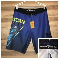 American Fighter Mens Shorts Shelton Board Shorts Navy Blue MMA Multi Size NEW