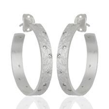 Silver Plated Handmade Brass Zirconia Hoop Earrings Fashion Jewelry