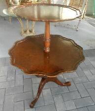 Antique, Chippendale/Queen Anne Style Mahogany & Burl Tea table, Dumbwaiter, A++