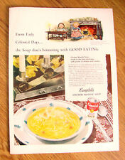 1952 Campbell's Soup Ad From Early Colonial Days Chicken Noodle