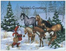 20 CHRISTMAS Santa Feeds HORSES MUSTANGS Greeting Flat CARDS Envelopes Seals