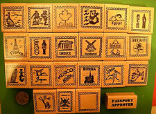Country and Continent Passport Stamp Frame Rubber Stamps, wood mtd., your choice