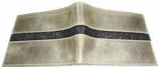 RFID Protect  Vegetable Tanned  CALFSKIN LEATHER WALLET BIFOLD OSTRICH Grey Gray