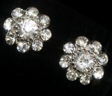 Clip on Diamante Crystal Rhinestone Big Flower Earrings Sparkly Comfy Clips