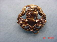 Vintage Simply Elegant 10KT. Yellow Gold Art Nouveau Watch Pin  Early 1900