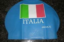 New in Bag AQUALIS ITALY ITALIA FLAG Blue Latex Swim Cap - Swimming