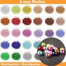 Wachsperlen 8 mm - mit Loch Set Kinder Armband Acryl zum Basteln Perlen Bunt 8mm